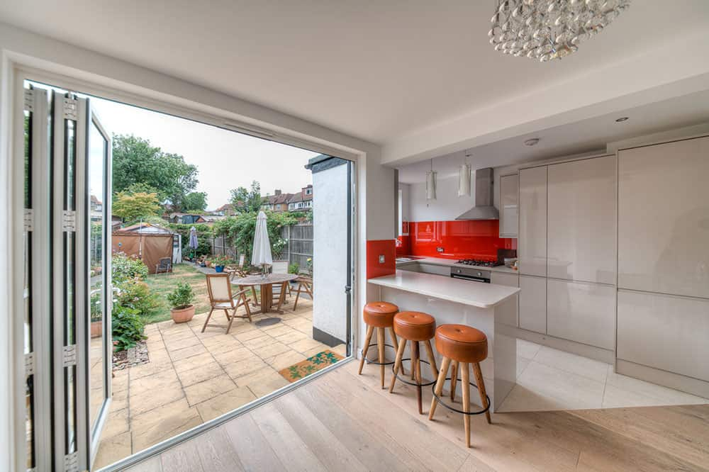home extensions earlsfield - kitchen extension with sliding doors